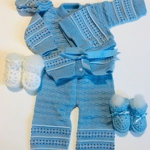 Beautiful Baby Blue Hand Knitted 6 Piece Set